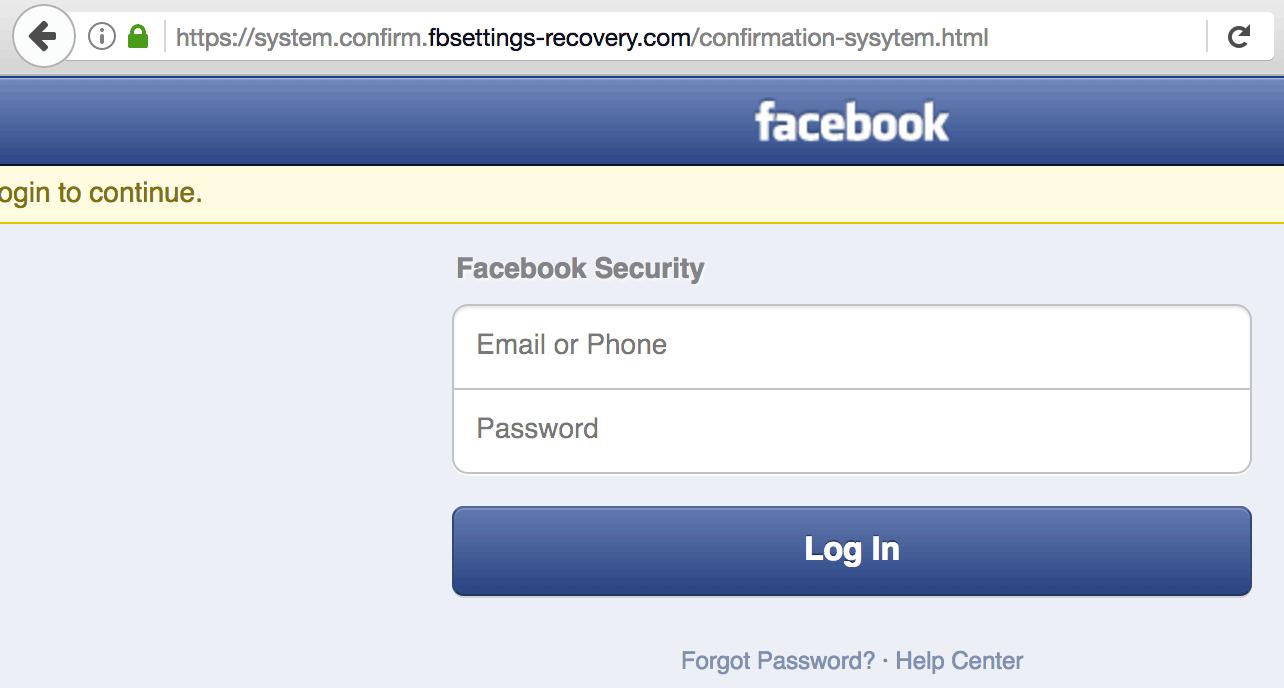 fake facebook url