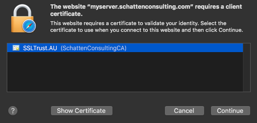 OSX select client Certificate