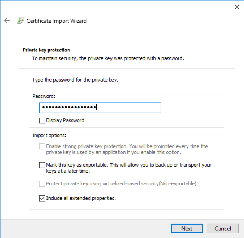 Windows Import Client Certificate and enter Passphrase