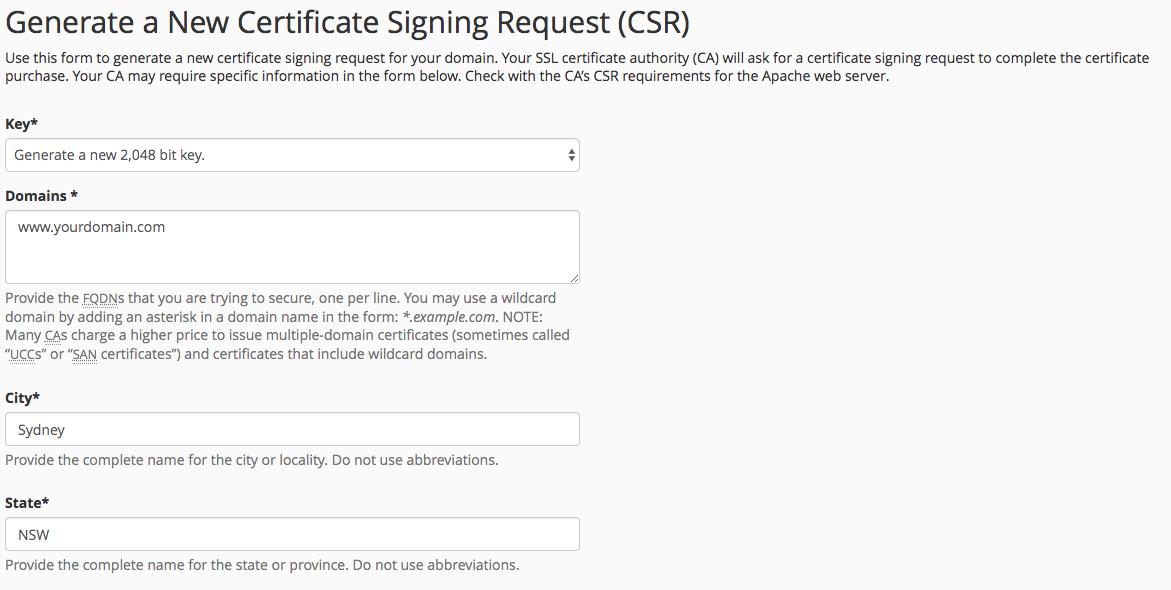 cPanel generate CSR