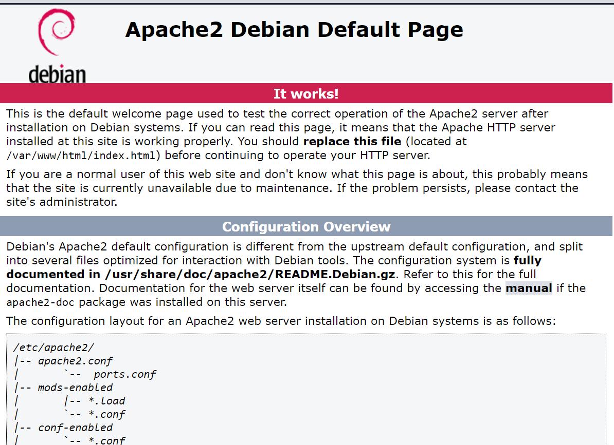 Apache Default Page Debian