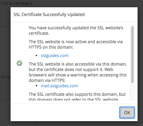 GoDaddy SSL Install Success