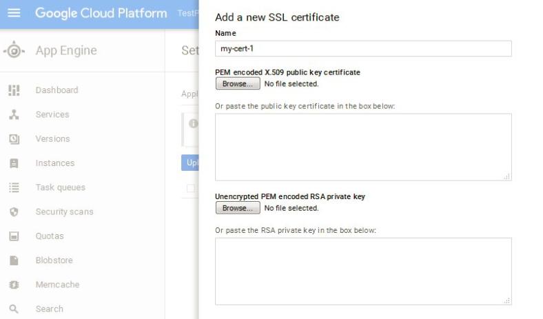 Upload SSL Certificate