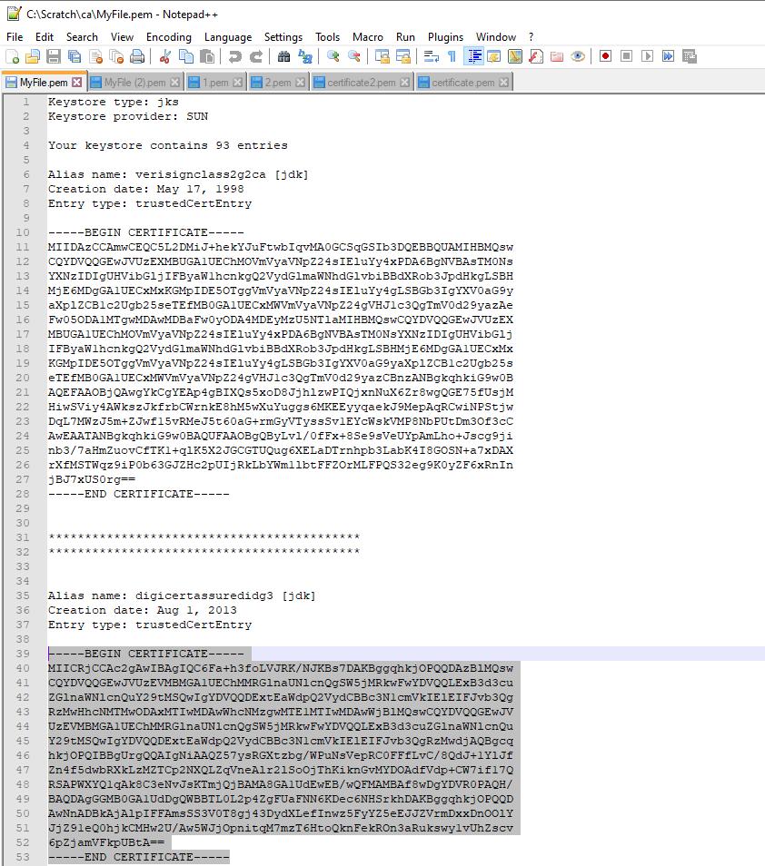 Intermediate Certificate PEM file