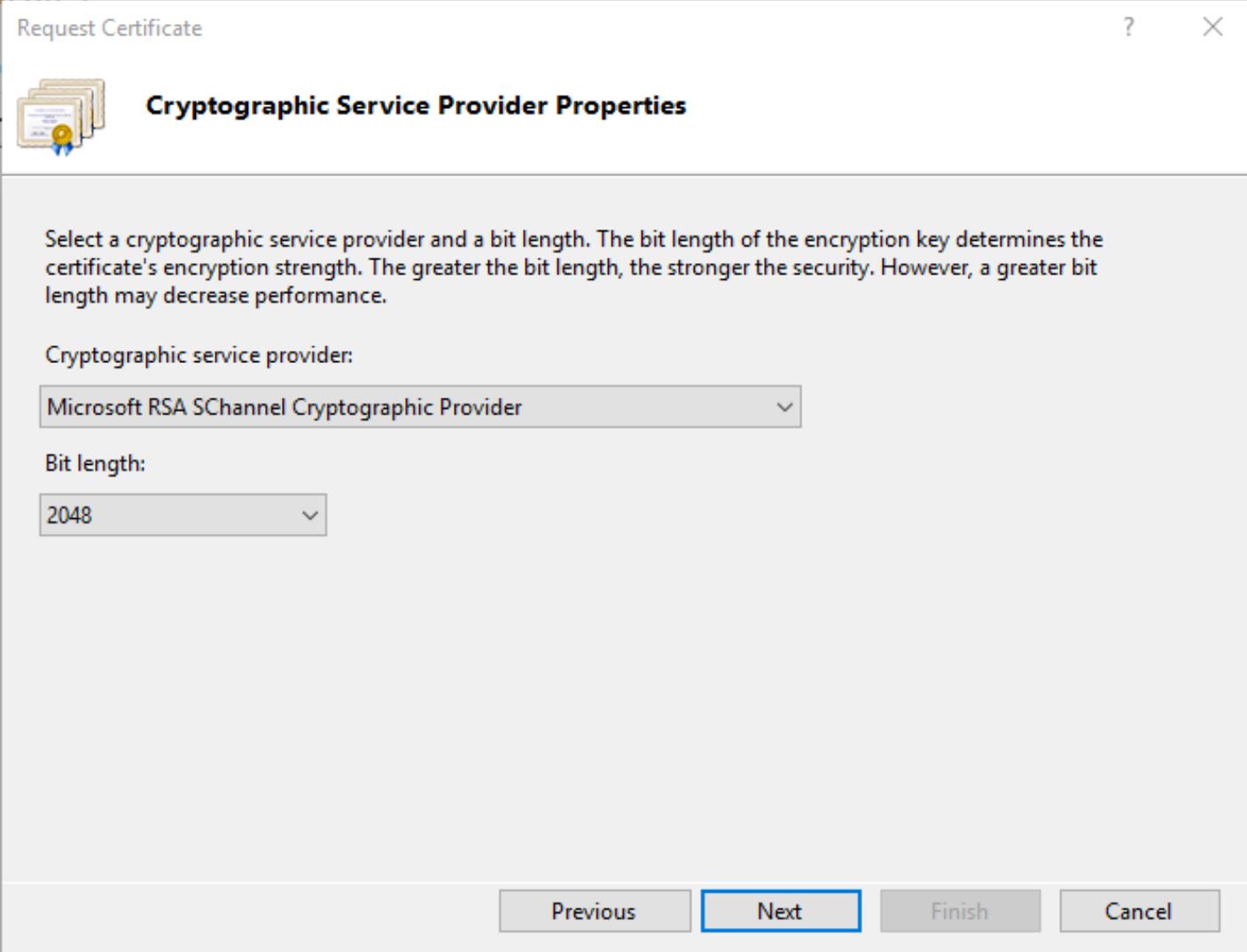 IIS 10 Select CSR Provider