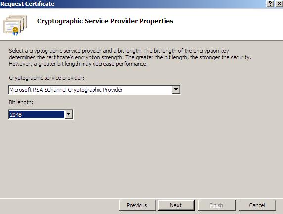 IIS 7 Select CSR Provider