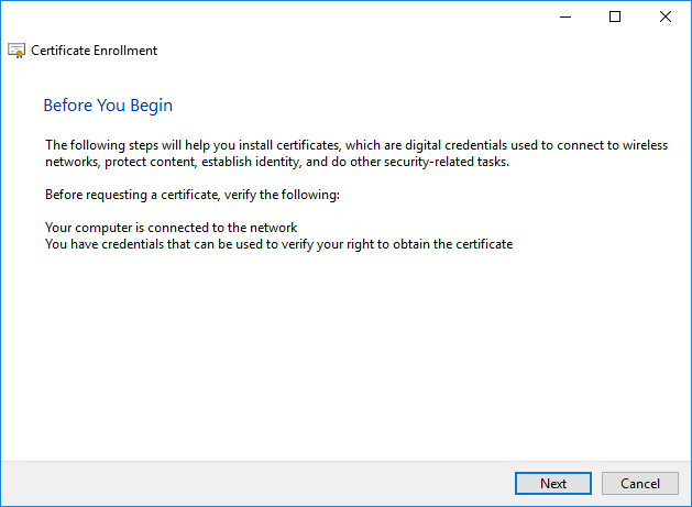 Certificate Enrollment Window