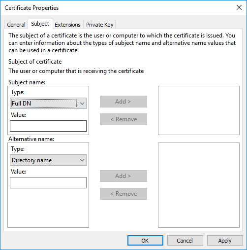 Certificate Properties Subject