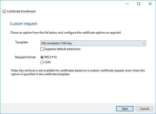 Certificate Custom Request