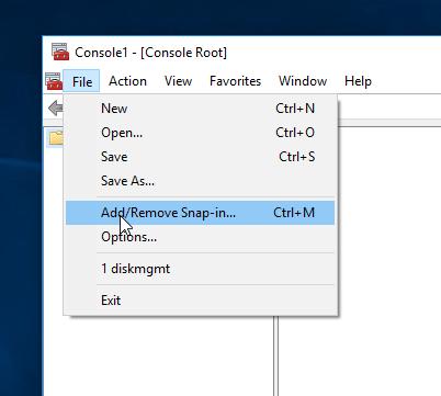 MMC Menu Add/Remove Snap-in