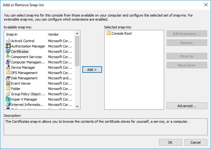 MMC Select Certificate