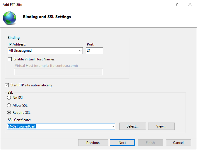 Binding and SSL Settings for IIS FTP Server