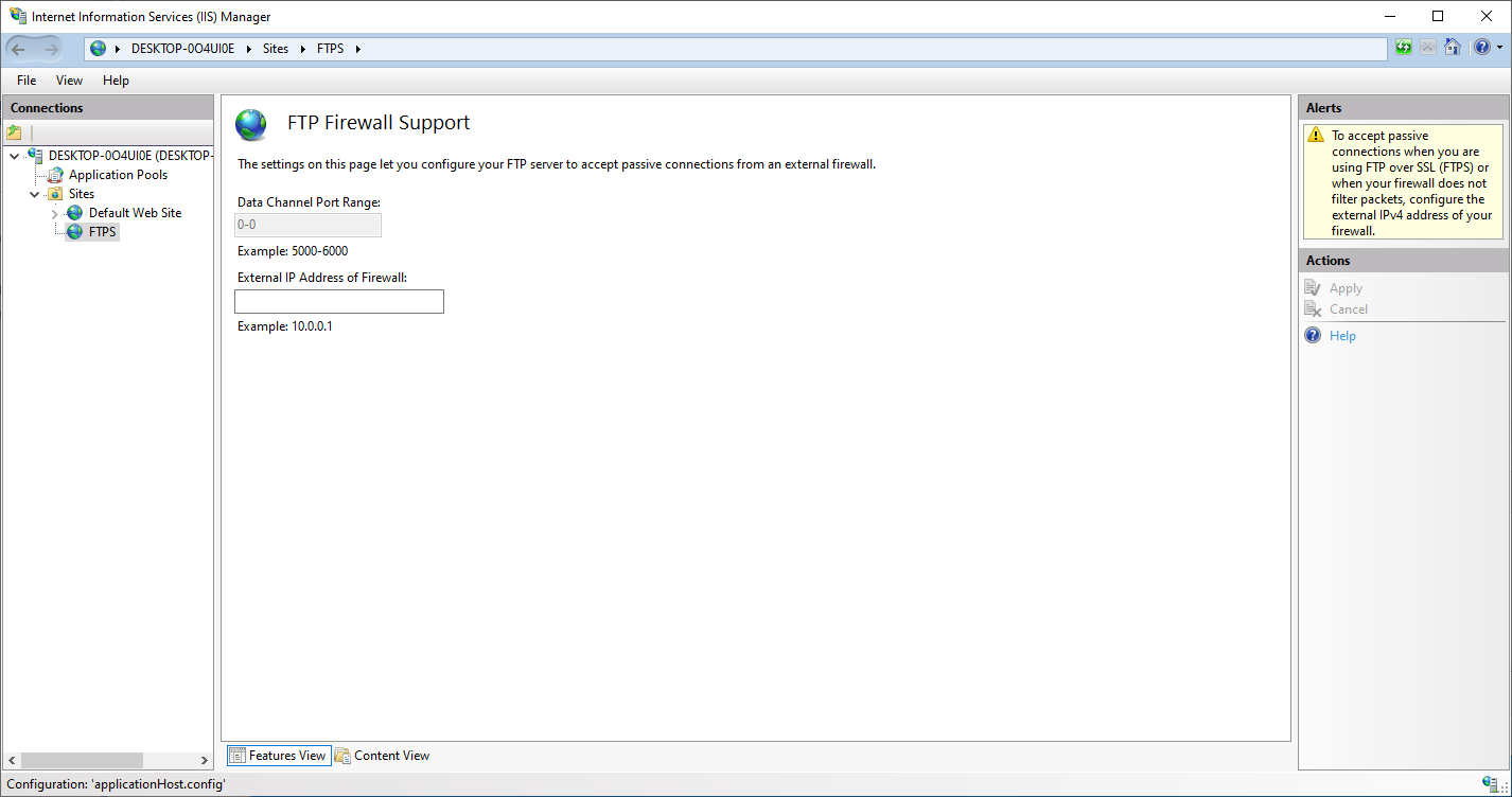 IIS Firewall Settings