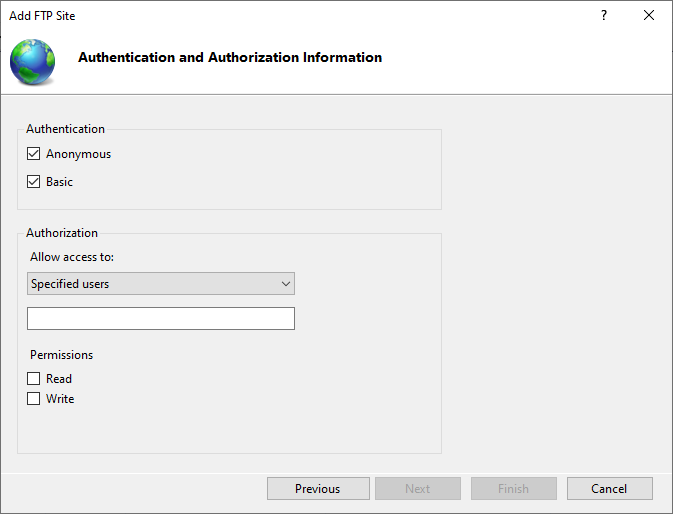 IIS FTP Authentication Settings