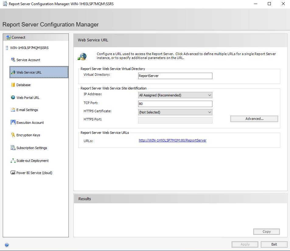 Configure Microsoft SSRS