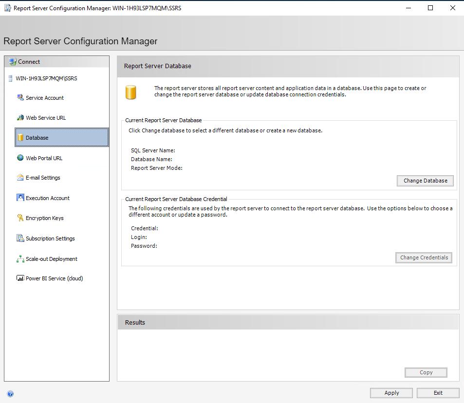 Configure Microsoft SSRS Database