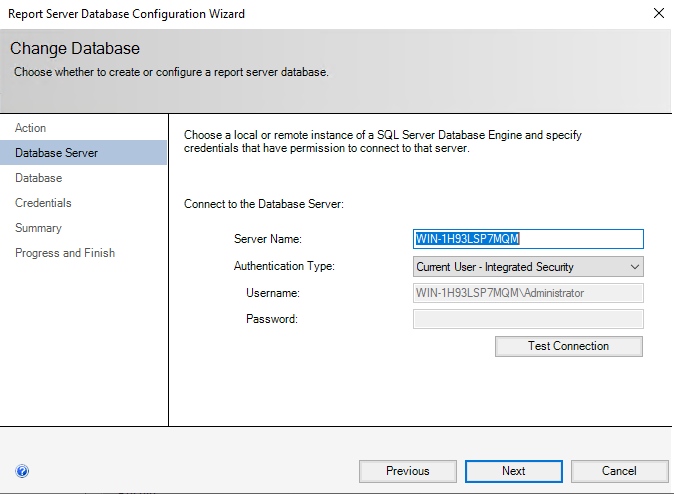 Create New Report Server DAtabase