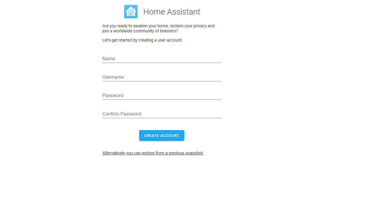 create home assistant account