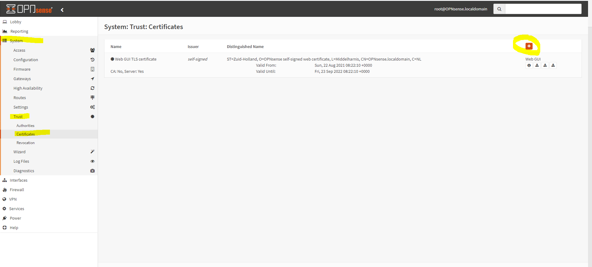 OPNSense Create Certificate