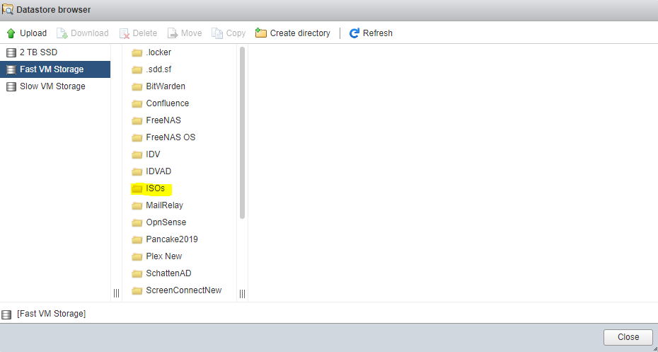 OPNSense VM Datastore Browser