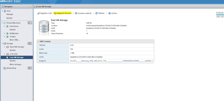 OPNSense VM Datastore