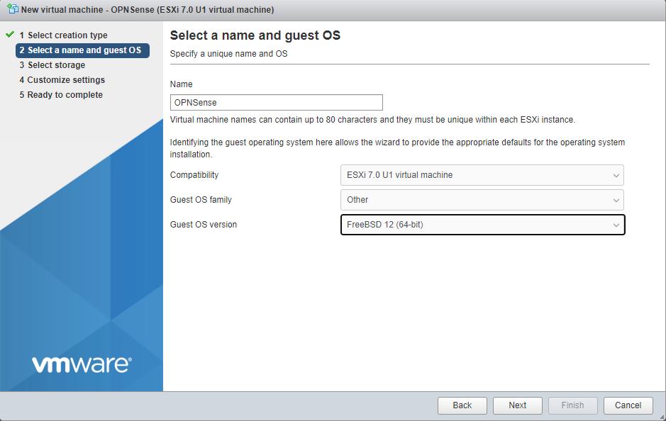 OPNSense Select VM OS