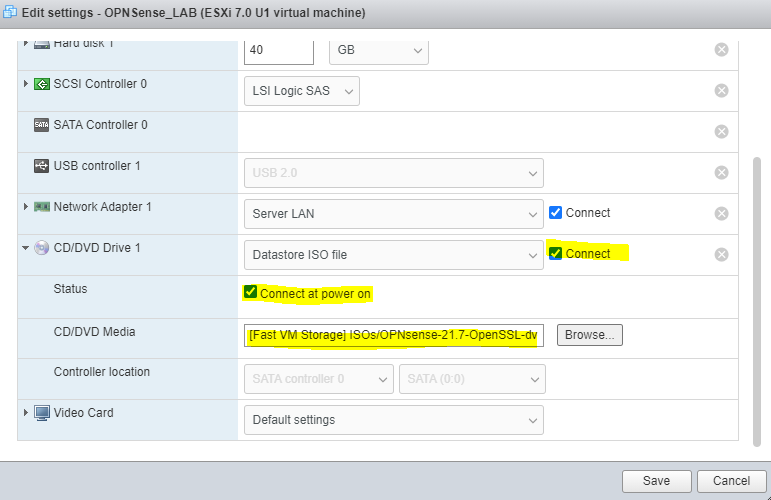 opnsense edit settings to connect at power on