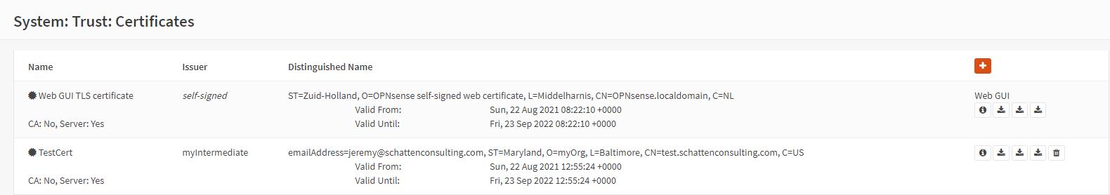 OPNSense Sign Certificate Request