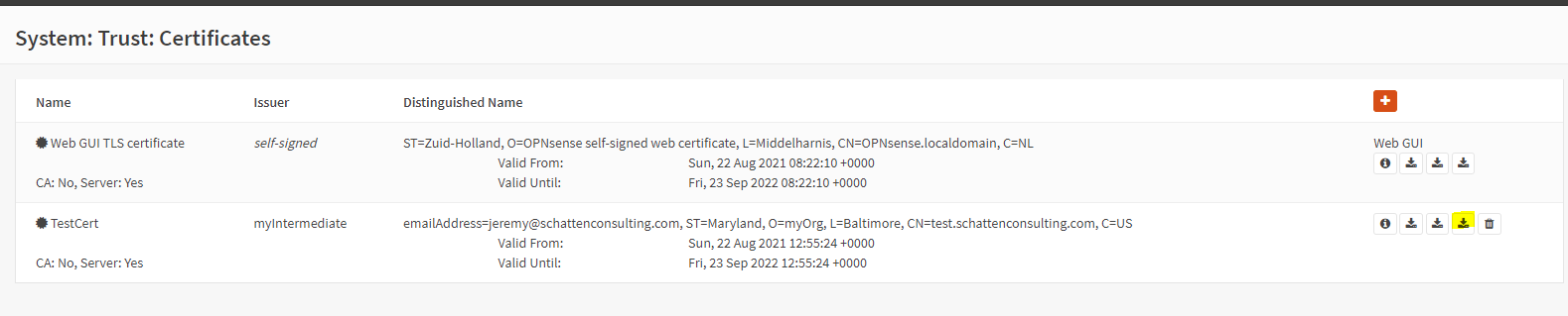 OPNSense Trust Certificates