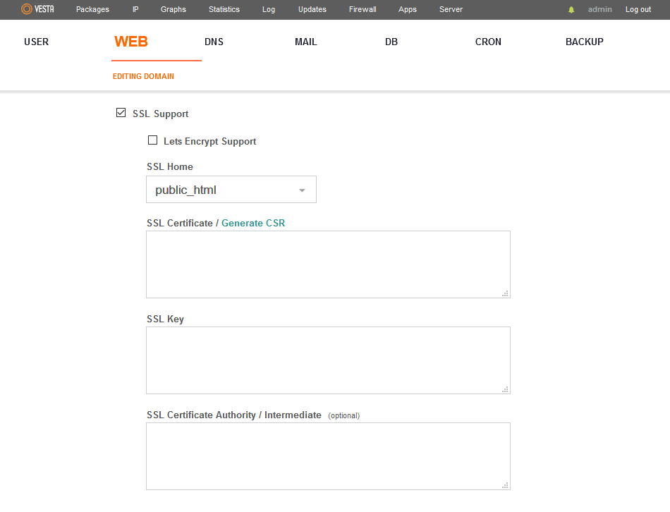 VestaCP SSL Configuration Window