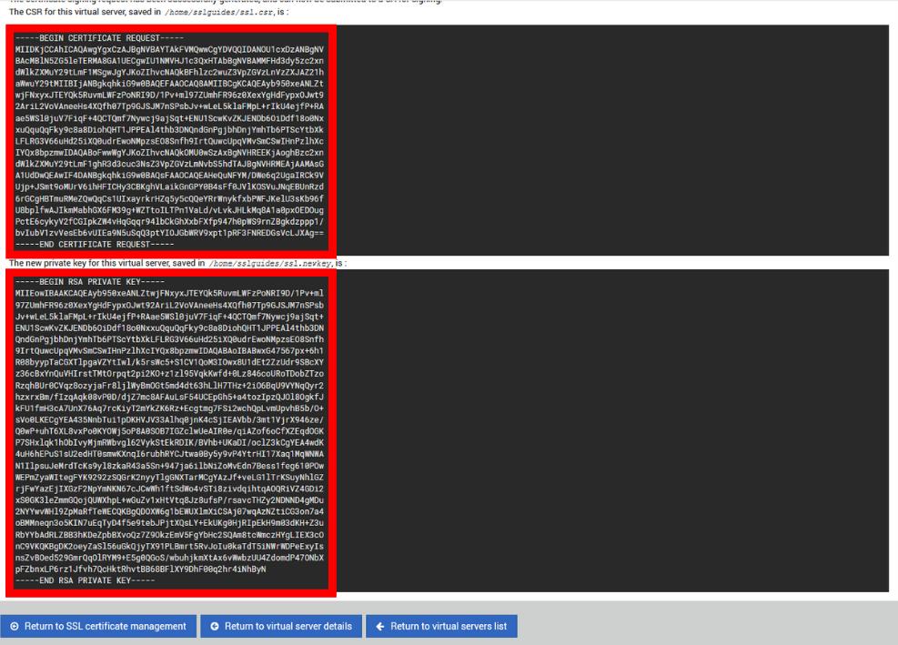 virtualmin webmin csr generated