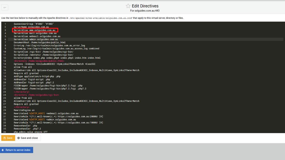 webmin edit directives