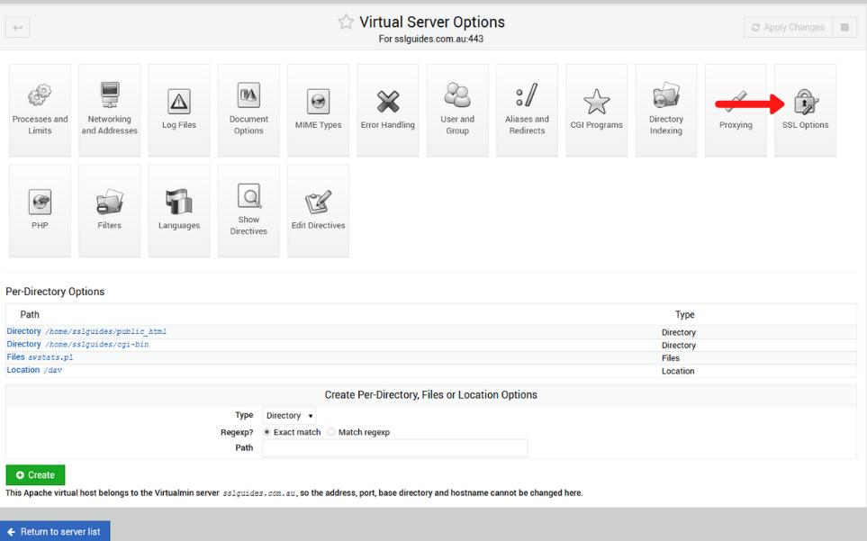 webmin virtualmin ssl options