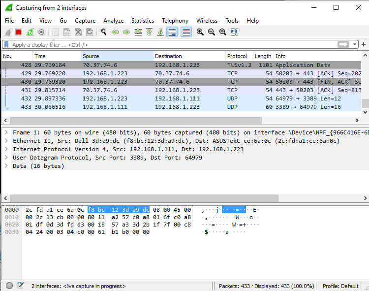 Wireshark capture SSL TLS Traffic